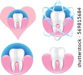 simple tooth in gum... | Shutterstock .eps vector #569815684