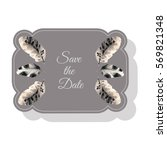 save the date card with feathers | Shutterstock .eps vector #569821348