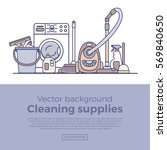 household cleaning supplies... | Shutterstock .eps vector #569840650