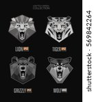 vector set of monochrome trendy ... | Shutterstock .eps vector #569842264