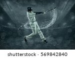 baseball players in action...   Shutterstock . vector #569842840
