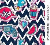 vector hand drawn fashion... | Shutterstock .eps vector #569845714