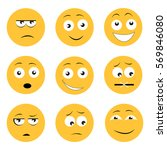set of yellow emojis icons... | Shutterstock .eps vector #569846080