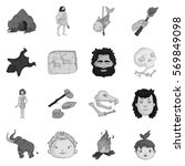stone age set icons in... | Shutterstock .eps vector #569849098