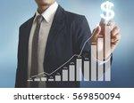 businessman with financial...   Shutterstock . vector #569850094