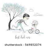 little girl learns riding a...   Shutterstock .eps vector #569852074