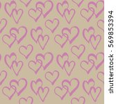 seamless pattern with hearts.... | Shutterstock .eps vector #569853394
