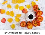 cup of coffe and rose on white...   Shutterstock . vector #569853598