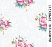 seamless floral pattern with... | Shutterstock .eps vector #569856364