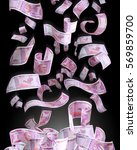 new indian currency flying on... | Shutterstock . vector #569859700