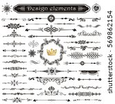 Vector set of calligraphic design elements and page decor | Shutterstock vector #569862154