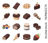chocolate desserts set icons in ... | Shutterstock .eps vector #569863174