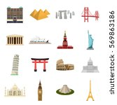Countries Set Icons In Cartoon...