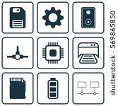 set of 9 computer hardware...   Shutterstock .eps vector #569865850