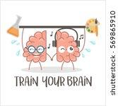 activate your brain poster.... | Shutterstock .eps vector #569865910