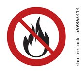 prohibited sign road flame fire ... | Shutterstock .eps vector #569866414