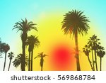 los angeles with palm trees... | Shutterstock . vector #569868784