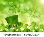 sunny background with clover... | Shutterstock . vector #569870314