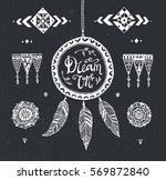 vector hand drawn tribal... | Shutterstock .eps vector #569872840