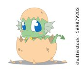 cute baby dragon hatching from...   Shutterstock .eps vector #569879203