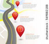road infographic with red... | Shutterstock .eps vector #569882188