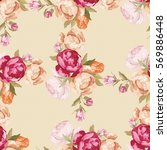seamless floral pattern with... | Shutterstock .eps vector #569886448