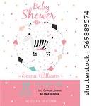romantic and lovely baby shower ... | Shutterstock . vector #569889574