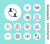 set of 12 business management... | Shutterstock .eps vector #569896546