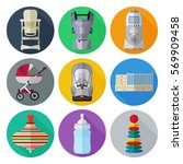 set of flat products icons for... | Shutterstock .eps vector #569909458