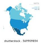 map of nafta  north american... | Shutterstock .eps vector #569909854