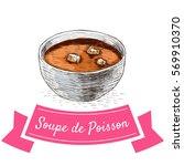 soupe de poisson colorful... | Shutterstock .eps vector #569910370