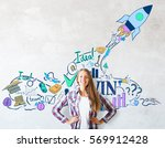 smiling caucasian girl on...   Shutterstock . vector #569912428