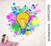 thoughtful european woman... | Shutterstock . vector #569912503