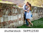 beautiful couple hugging in... | Shutterstock . vector #569912530