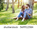 cute uni students studying...   Shutterstock . vector #569912584