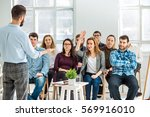 speaker at business meeting in... | Shutterstock . vector #569916010