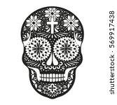 day of the dead  skull ... | Shutterstock .eps vector #569917438