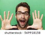 portrait of man with jazz hands | Shutterstock . vector #569918158