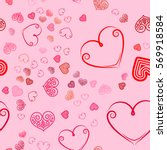 valentines day seamless pattern ... | Shutterstock .eps vector #569918584
