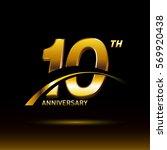 10 years golden anniversary... | Shutterstock .eps vector #569920438