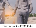 lover couple doing exercises... | Shutterstock . vector #569924146