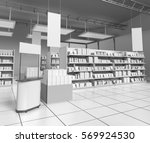 supermarket with products on... | Shutterstock . vector #569924530