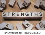 strengths word in wooden cube