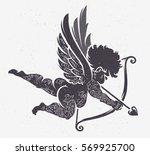 vector cupid silhouette with... | Shutterstock .eps vector #569925700