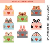cute love cards with kawaii... | Shutterstock .eps vector #569926504