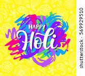 happy holi poster with hand... | Shutterstock .eps vector #569929510