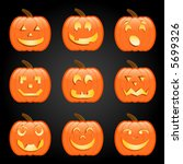 nine jack o lanterns  each with ... | Shutterstock .eps vector #5699326