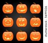 Nine Jack O Lanterns  Each Wit...