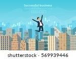 successful businessman jumping... | Shutterstock .eps vector #569939446