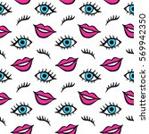lips and eyes patches seamless... | Shutterstock .eps vector #569942350